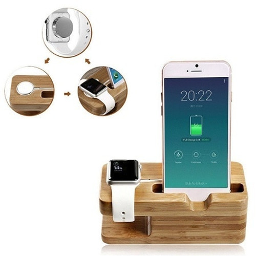 Bamboo Charging Dock Station Charger Holder Stand for Apple Watch iPhone  Se
