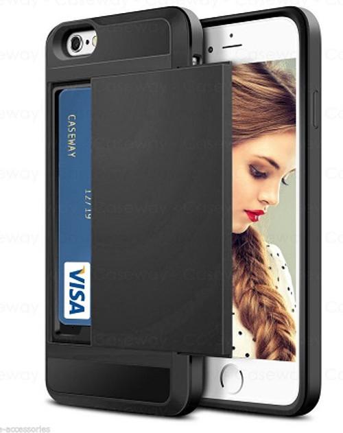Apple iPhone XS Tough Wallet  Black Card Holder  Case