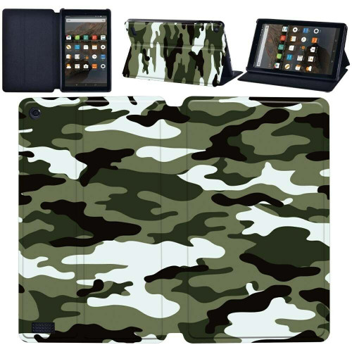 Amazon Kindle Fire  HD 8 (2017) (2018) urban Camouflage Tablet Magnetic Smart  Stand  Case