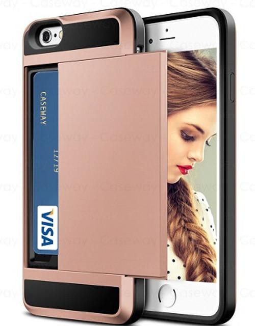 Apple iPhone XS Tough Wallet Rose Gold Card Holder  Case