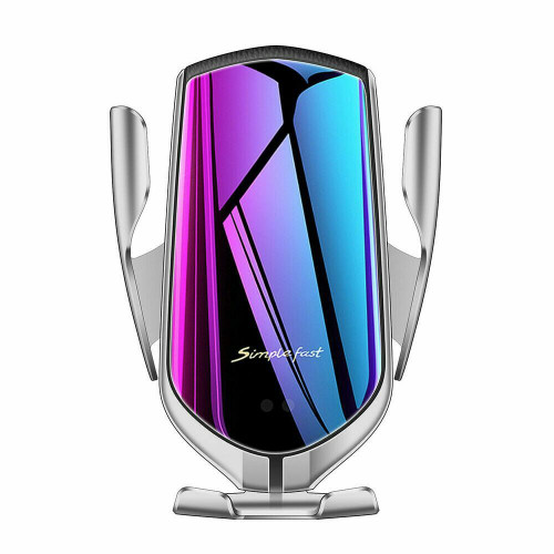 Silver  Qi fast with GPS charging Wireless automatic  Phone Holder for Samsung galaxy s10 s10 e 10 plus