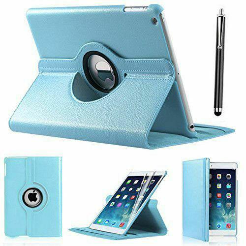 Apple iPad Air 2 Sky Blue PU Leather 360 Rotating Case