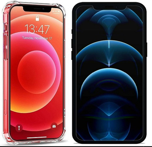 Tempered glass and silicon back case for Apple iPhone  12 Pro Max