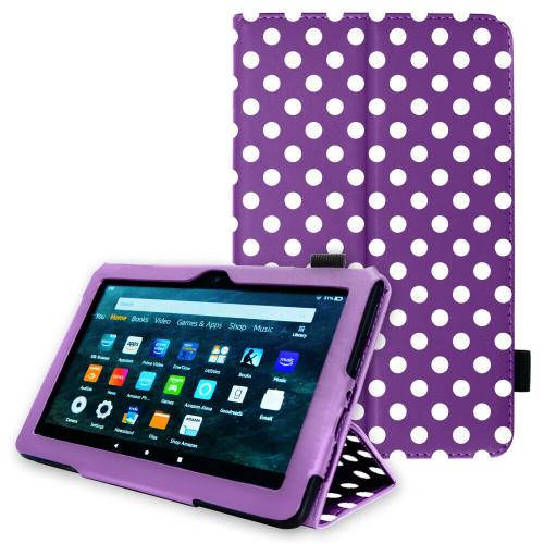 Purple polka Amazon Kindle Fire HD 8 Plus Tablet 2020 Premium Slim Leather Flip Smart Stand Case