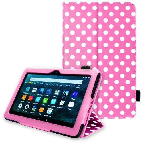 Pink polka Amazon Kindle Fire HD 8 Plus Tablet 2020 Premium Slim Leather Flip Smart Stand Case