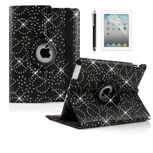 Black Bling Glitter 360 Degree Rotating Flip Smart Case For iPad Mini 1 2 3 Cover
