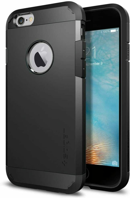 iPhone 6S Case, Spigen Tough Armor Shockproof Protective Cover - Black