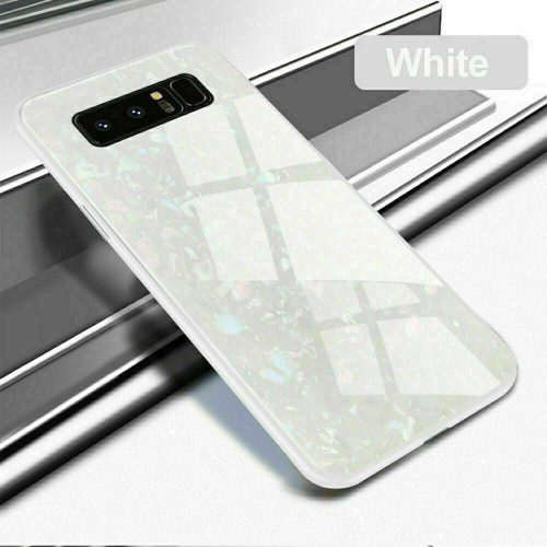 Samsung Galaxy S8 Plus White Magnetic Absorption Marble Glass Case