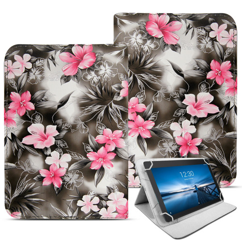 Samsung Galaxy Tab A7 10.4 2020 T500 T505 pink flower on dark grey Folding Stand Cover