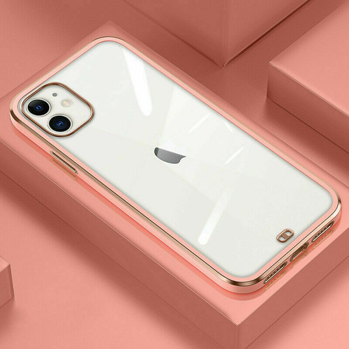 Peachy pink  Clear Shockproof  Soft  case for Apple iPhone 12