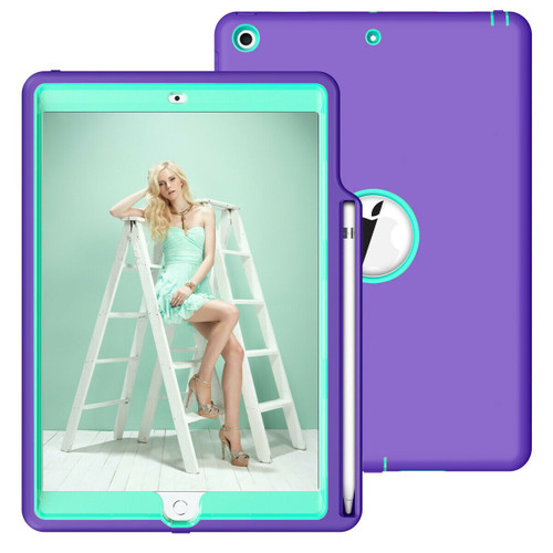 Apple iPad 10.2 th Generation 2020 Purple and Cyan Smart Shockproof With Pencil Holder