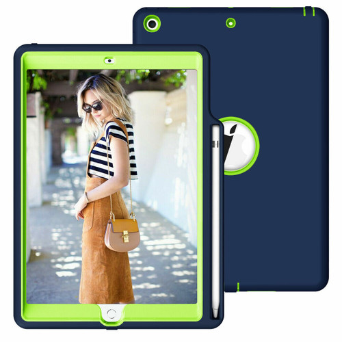 Apple iPad 10.2 8th Generation 2020 navy and Green Smart Shockproof With Pencil Holder