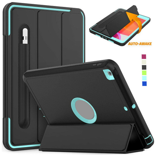 Black cycan iPad 10.2 2020 8th Gen Shockproof Tough Rugged Protective Cover Stand