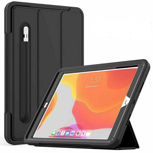 Black  iPad 10.2 2020 8th Gen Shockproof Tough Rugged Protective Cover Stand