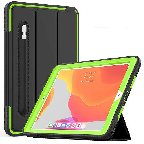 Black  and Green iPad 10.2 2020 8th Gen Shockproof Tough Rugged Protective Cover Stand