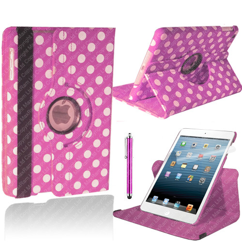 Baby Pink With White Polka Dot PU Leather 360 Rotating Case for iPad 2/3/4