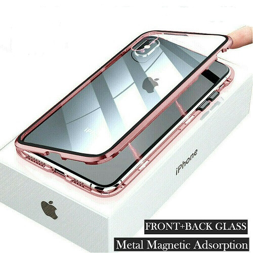 Pink  front  back glass magnetic metal case cover For iphone 11 pro max