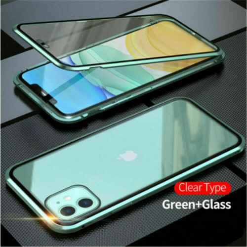 Green  front  back glass magnetic metal case cover For iphone 11 pro max
