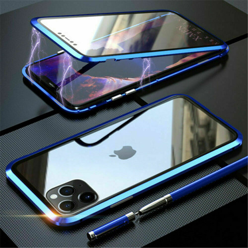 Blue  front  back glass magnetic metal case cover For iphone 11 pro max