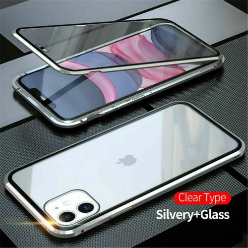 Silver front  back glass magnetic metal case cover For iphone 11 pro max