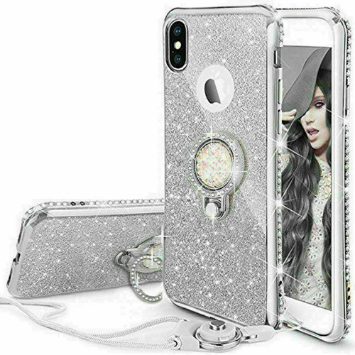 Silver Glitter Case Ring Stand Holder Phone for Samsung Galaxy S10