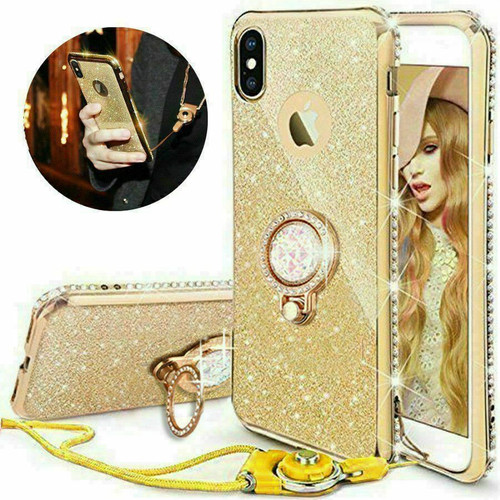 Gold Glitter Case Ring Stand Holder Phone for Samsung Galaxy S10