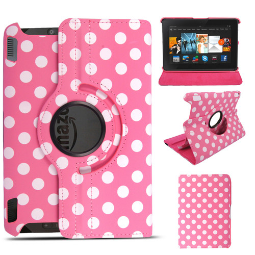 Polka dot pink 360 rotate Amazon Kindle Fire HDX 8.9  2013 case
