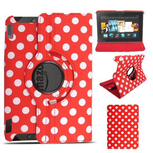Polka dot red 360 rotate Amazon Kindle Fire HDX 8.9  2013 case