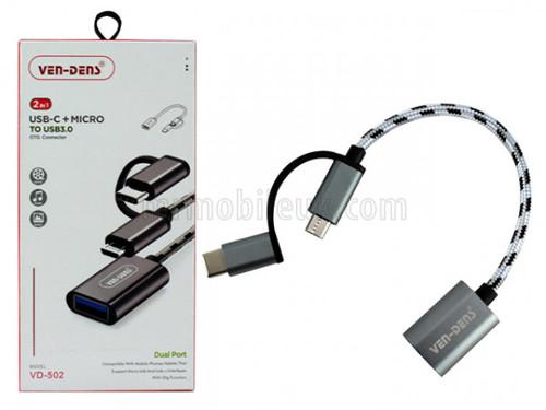 USB Reader to USB-C/Micro USB Nylon Cable VD502 - Grey/Black