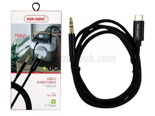 USB-C to 3.5mm Audio AUX Nylon 1M Cable VD309 - Black
