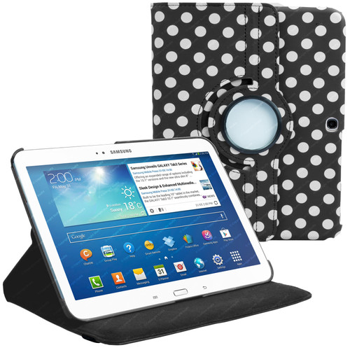 Black & White Polka Dot PU Leather 360 Rotating Case for Samsung Galaxy Tab 3 10.1 (P5200/P5210)