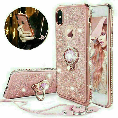 Rose gold Glitter Case Ring Stand Holder Phone for Samsung Galaxy s10 pluse