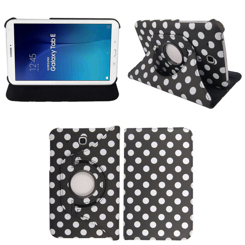 Black & White Polka Dot PU Leather 360 Rotating Case for Samsung Galaxy Tab 3 7.0 (T210/P3200)