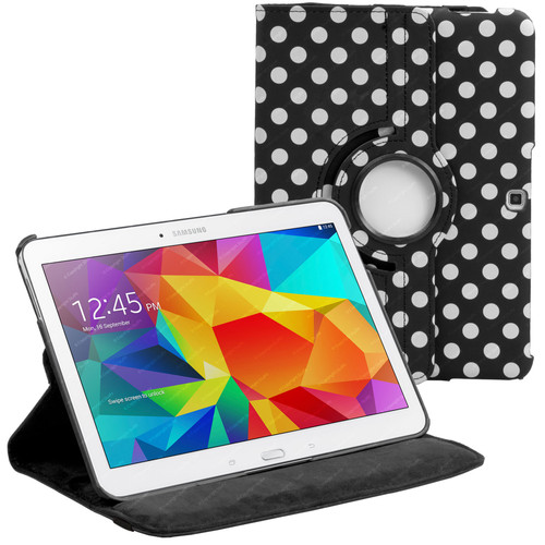 Black & White Polka Dot PU Leather 360 Rotating Case for Samsung Galaxy Tab 4 Nook 10.1 (T530)