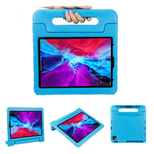 For Apple iPad Pro 12.9inch 2020/2018 4th/3rd Gen Foam Stand Handle Case  blue Cover