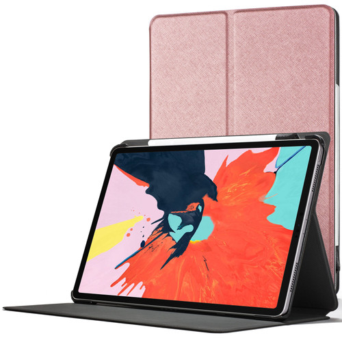 Apple iPad Pro 12.9 2018 Smart Case Cover Stand | Rose Gold + Stylus & Protector