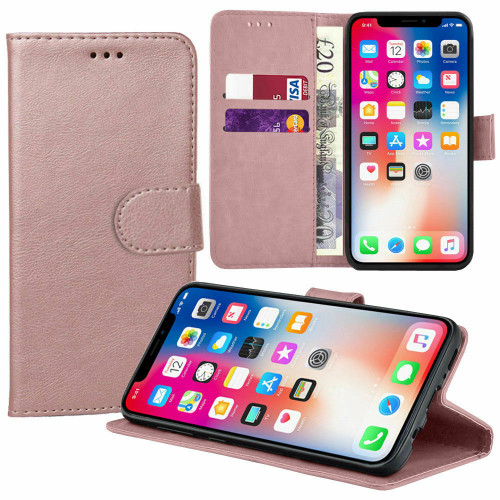 Luxury Leather Flip Wallet  rose gold Cover for Apple iPhone  11
