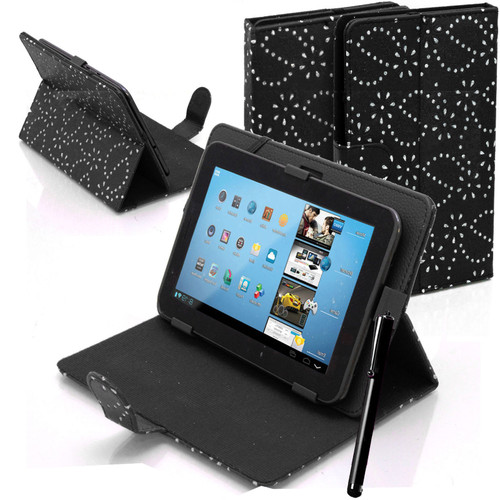 Black Bling Universal Leather Stand Folding Folio Case for Nook HD 7 inch