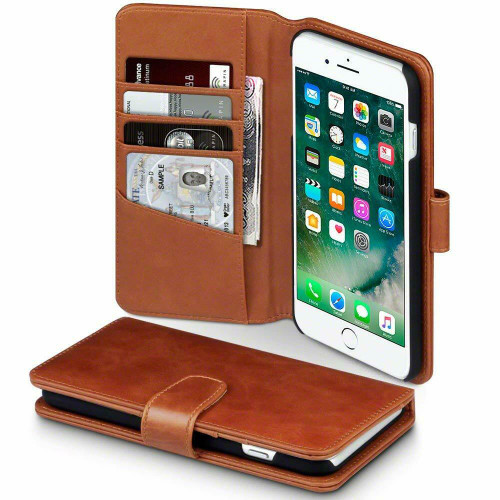 Luxury Leather Flip Wallet  brown Cover for Apple iPhone  11