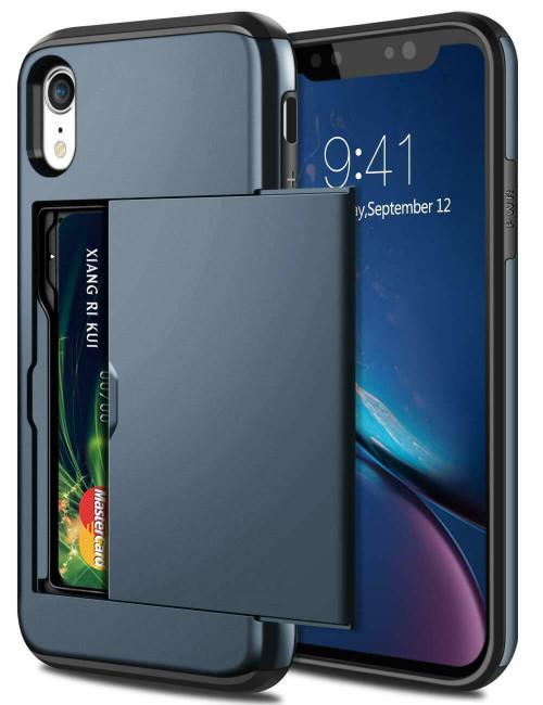 Navy Shockproof Card Holder Wallet Cover Case  for Apple iPhone  11
