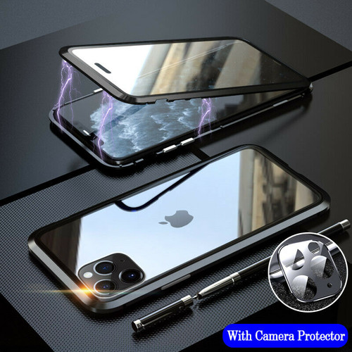 Black 360 Full Body Front Back Glass For iPhone 11 Pro  Magnetic Case Camera Glass
