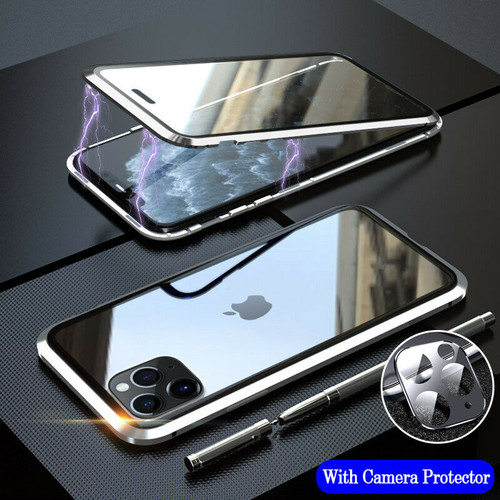 Silver 360 Full Body Front Back Glass For iPhone 11 Pro  Magnetic Case Camera Glass