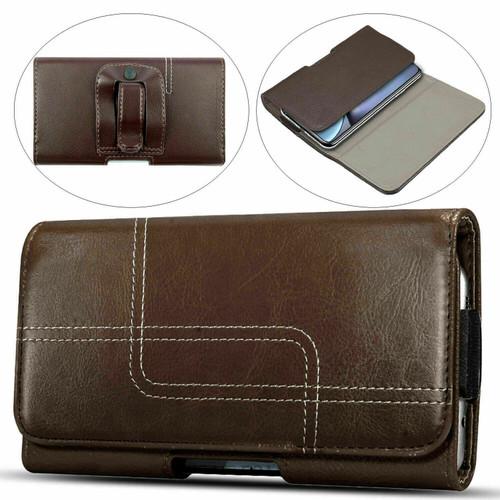 Dark brown Samsung Galaxy S8 Genuine Leather Belt Clip Holster Flip Case
