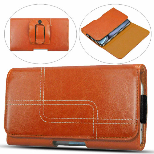 Light brown Samsung Galaxy S8 Genuine Leather Belt Clip Holster Flip Case