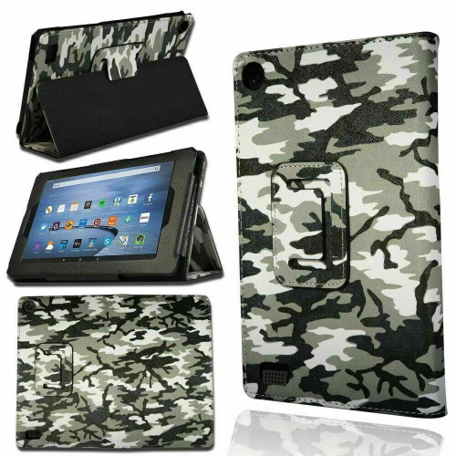 Amazon Kindle Fire HD 8 plus 2020 10th Gen Camouflage Smart Leather Stand Case