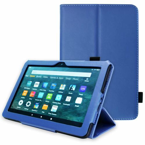 Amazon Kindle Fire HD 8 Plus Tablet 2020 Premium Slim Leather Flip Smart Stand Case Blue Cover