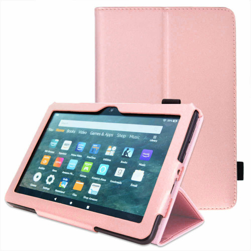 Amazon Kindle Fire HD 8 Plus Tablet 2020 Premium Slim Leather Flip Smart Stand Case pink Cover