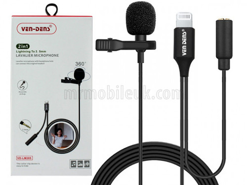 VD-LM205 Lavalier Microphone to 8 Pin with 3.5mm Audio Splitter - Black