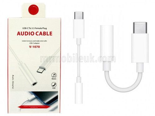 VD-1070 Bluetooth USB-C to 3.5mm Audio Headphone Adaptor - White
