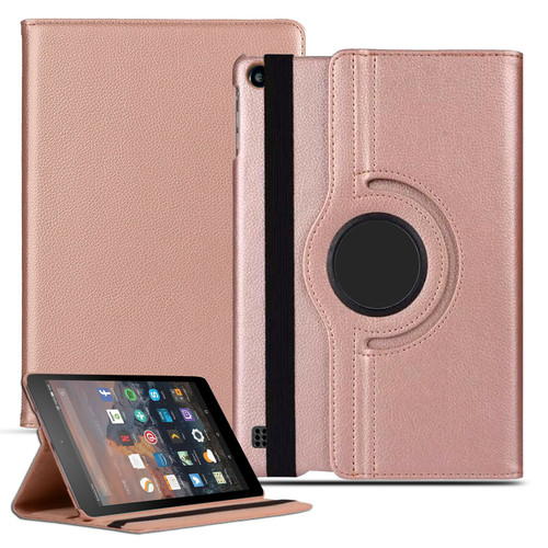 Amazon Kindle Fire HD 7 5th Gen 2015  360 rose gold  Smart Leather Stand Wallet Case